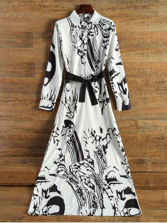 online Chinese Painting Chiffon Maxi Dress - OFF-WHITE M