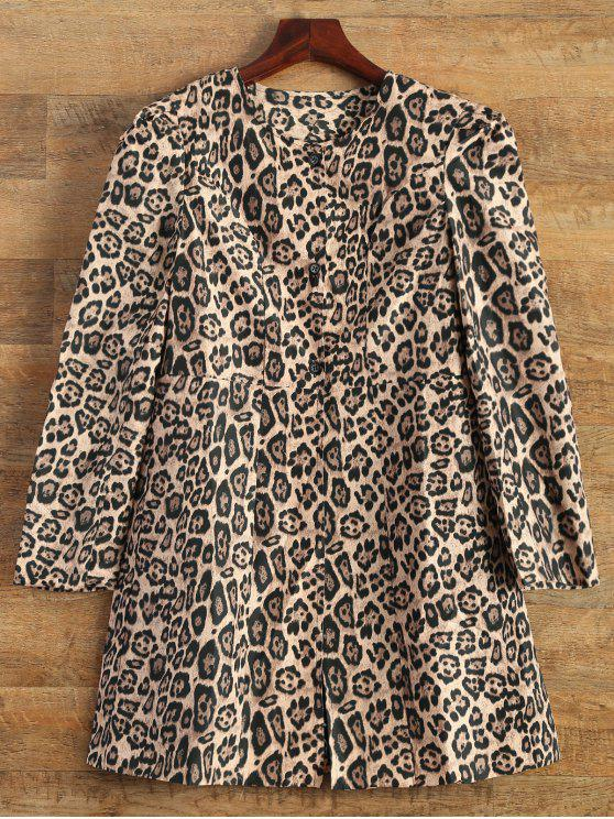 new Leopard Print Skirted Coat - LEOPARD S