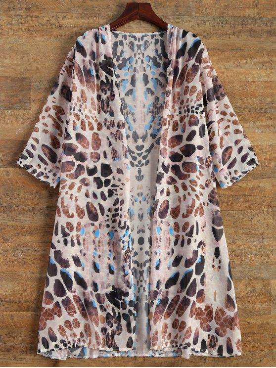 latest Leopard Print Chiffon Cover Up - LEOPARD S
