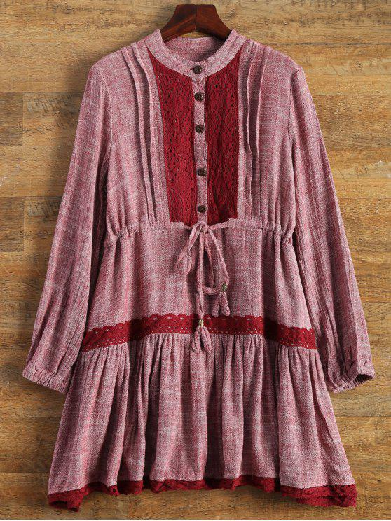 outfit Long Sleeve Lace Bib Smock Dress - WINE RED S