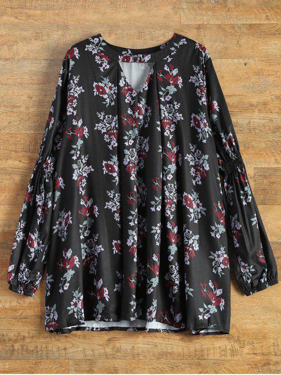 Robe A-ligne imprimée floral - Noir M