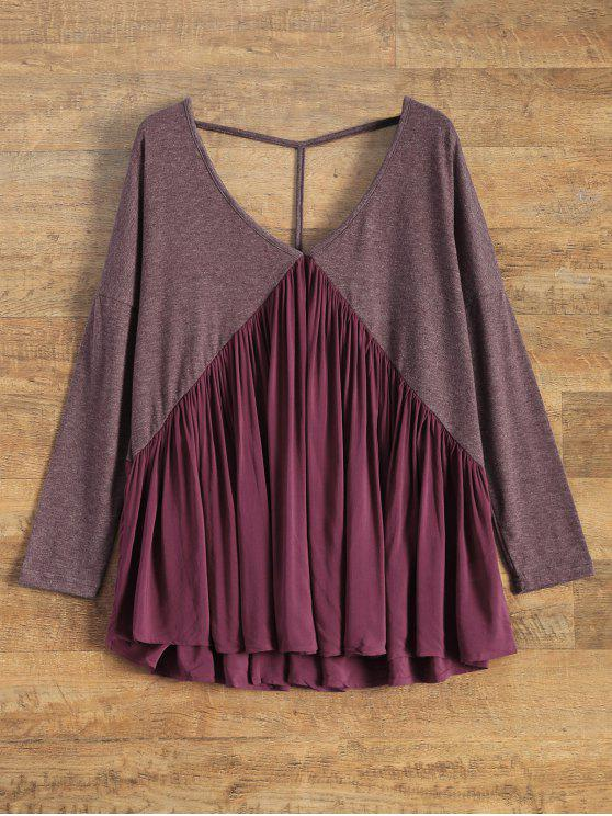 shops Oversized Low Back Plunge Swing Tee - WINE RED L