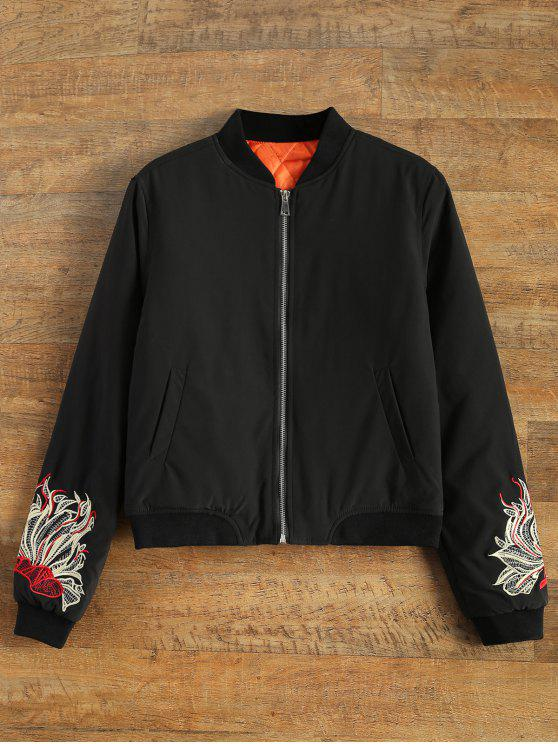 fancy Lined Embroidered Bomber Jacket - BLACK M