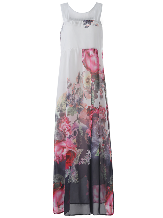 Sleeveless Chiffon Maxi Floral Dress - Blanc L