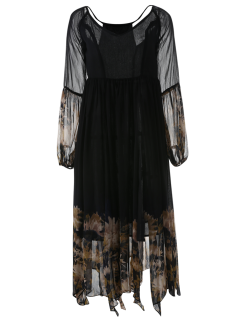 Long Sleeve Printed Maxi Chiffon Dress - Black L