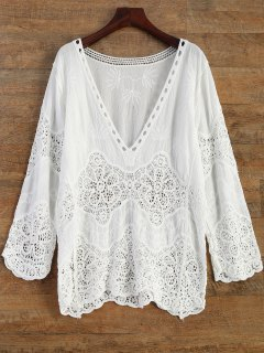Crochet Plunge Beach Cover-Up Dress - White
