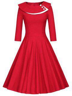 Bouton Layered Robe Trapèze - Rouge S