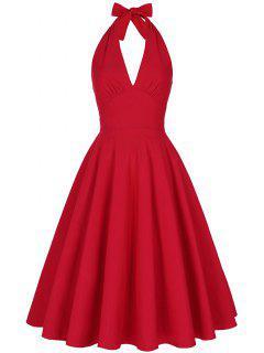 Backless Plunge Halter Vintage Swing Skater Party Dress - Red M
