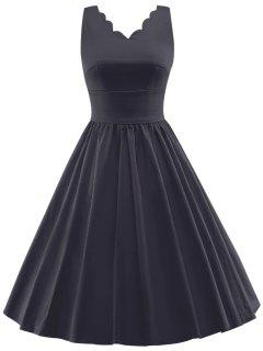 Scalloped A Line Swing Cocktail Dress - Black L