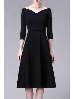 V Neck Midi A Line Dress - Black 2xl