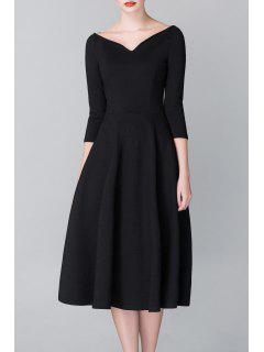 Waisted Midi A Line Dress - Black 2xl