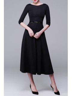 Three-Quarter Sleeve Midi A-Line Dress - Black 2xl