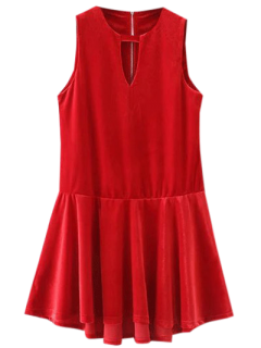 Cut Out Sleeveless Ruffle Velvet Mini Dress - Bright Red M