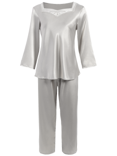 Faux Silk Sweetheart Neck Pajama Suit - Silver M