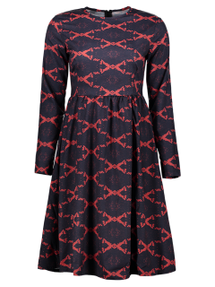 Argyle Fit And Flare Long Sleeve Dress - Red L