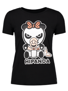 Cartoon Panda Pattern Tee - Black L