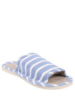 Linen Striped Cotton Fabric House Slippers - Light Blue Size(39-40)