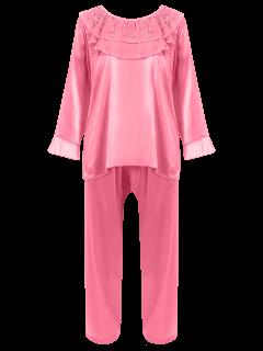 Rice La Sudadera De Imitación De Seda Loungewear Traje - Rosa Oscuro Xl