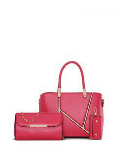Metal Embellished Handbag Set - Rose Red