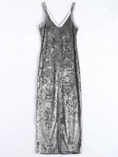 Front Slit Crushed Velvet Maxi Dress - Silver S
