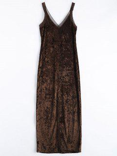 Front Slit Crushed Velvet Maxi Dress - Coffee M