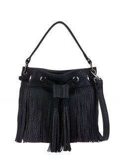 Fringe Drwstring Bucket Bag - Noir