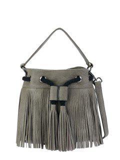 Fringe Drwstring Bucket Bag - [