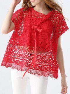 Recortable Bowknot Del Cordón Blouce Con Cami Camisetas Sin Mangas - Rojo S