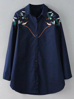 Chemise Brodée à Bouton  - Bleu Violet Xl