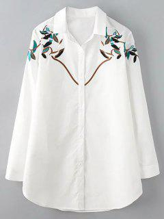 Button Up Branch Embroidered Shirt - White 3xl