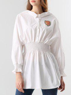 Smocked Beading Blouse - White S