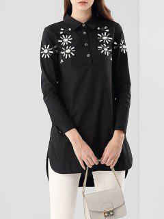 Beading High-Low Blouse - Black S