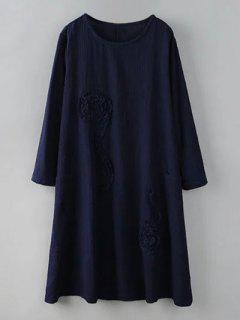 De Vestir De Manga Larga Con Volantes De Flores - Azul Purpúreo Xl