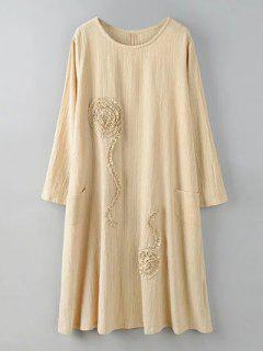 Long Sleeve Dress With Ruffle Flowers - Khaki 2xl