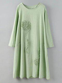 Long Sleeve Dress With Ruffle Flowers - Pea Green Xl