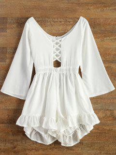 Ruffled Cut Out Lace-Up Romper - White S