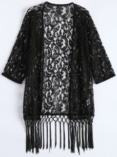 Fringe Lace Kimono Cover Up - Black Xl