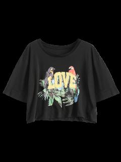 Tropical Print Cropped T-Shirt - Black S