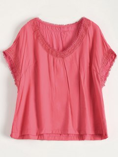V Neck Plus Size Tee - Peach Red 3xl