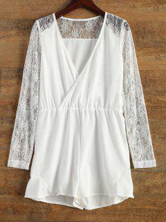 Lace Panel Manches Longues Surplice Romper - Blanc M