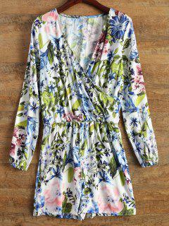 Long Sleeve Wrap Floral Romper - Blue S