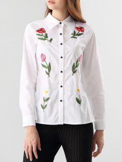 Camisa Bordada De Trabajo - Blanco S