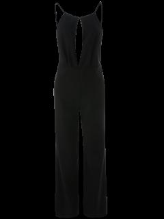 Plunge Keyhole Wide Leg Palazzo Jumpsuit - Black S