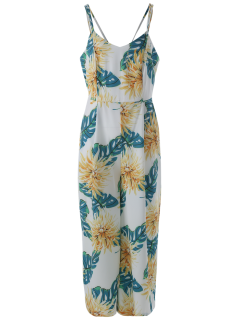 Cami Chiffon Floral Jumpsuit - Yellow L