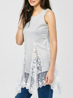 Lace Insert Tank Dress - Light Gray M