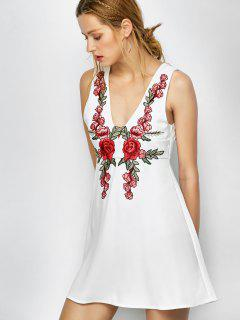 Floral Plunging Neck Mini Dress - White S