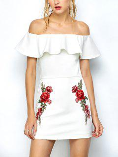 Floral Embroidered Off Shoulder Bodycon Dress - White S