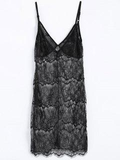 Sheer Lace Babydoll Slip Dress Lingeries - Noir S