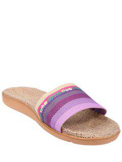 Flowers Ombre Striped House Slippers - Purple Size(39-40)