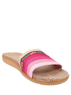 Flowers Ombre Striped House Slippers - Pink Size(39-40)